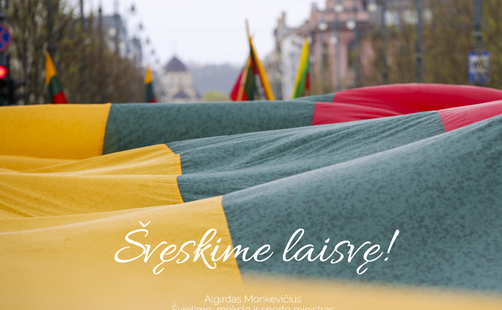 Ministro A. Monkevičiaus sveikinimas Vasario 16-osios proga